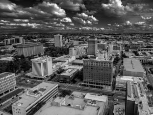 an aerial photograph of the Fresno skyline