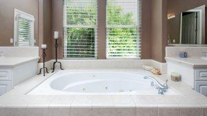 a low angle photo of a luxurious bathtub